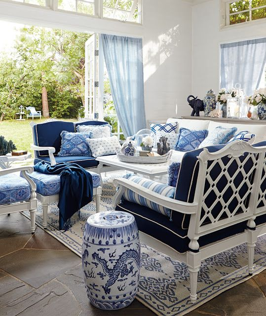 Living Rooms The Blue And White
